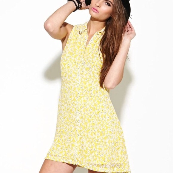 Urban Outfitters Yellow Floral Button Down Dress